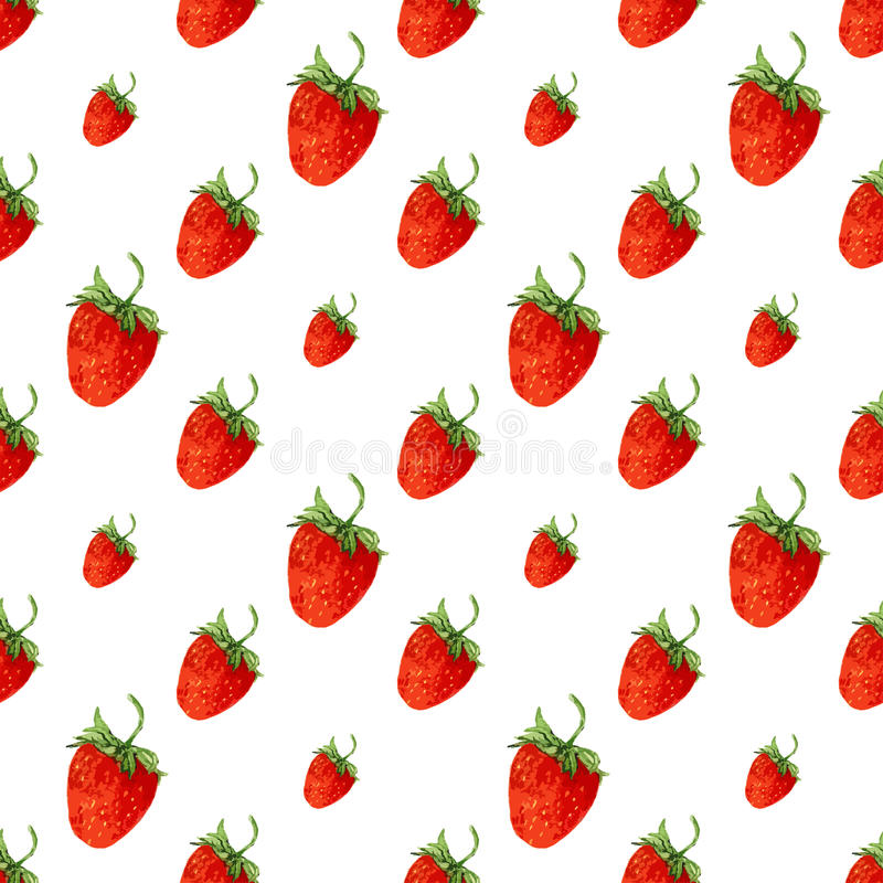 Watercolor seamless pattern with red strawberries. Vector background for print. Hand drawn vector illustration