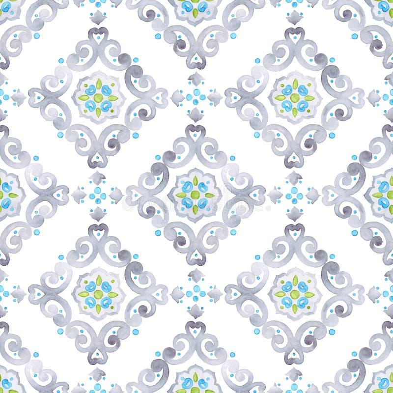 Watercolor seamless pattern, renaissance ornament stock image