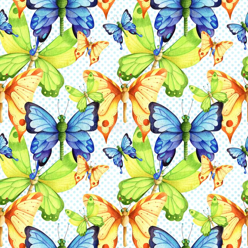 Watercolor seamless pattern in retro style with butterflies and moths stock illustration