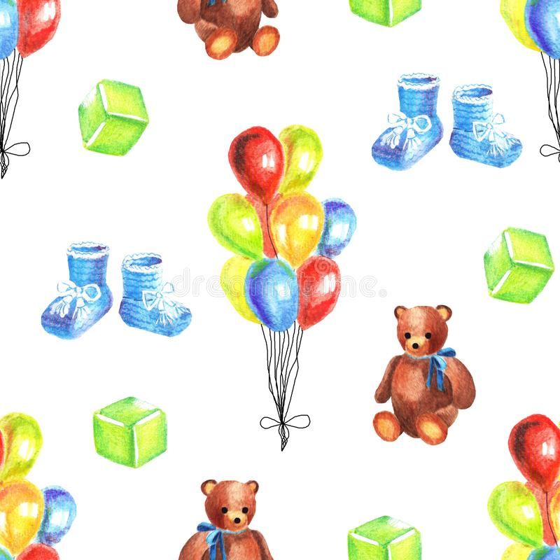 Watercolor seamless pattern with retro toys on white background vector illustration