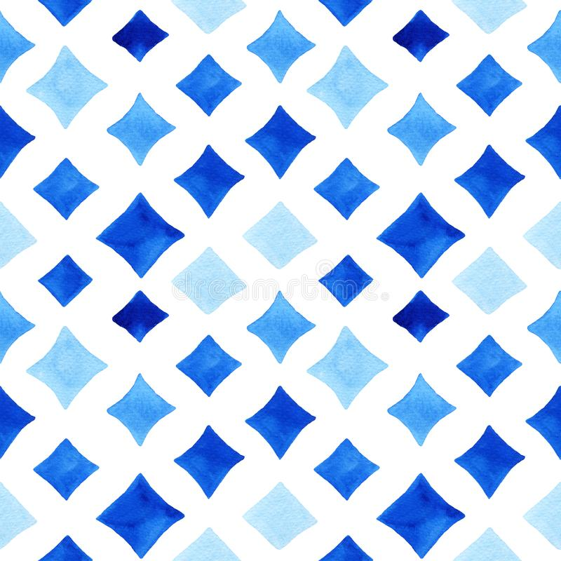 Watercolor seamless pattern with rhombus. Watercolor seamless pattern with blue rhombus. Abstract modern background, illustration. Template for textile vector illustration