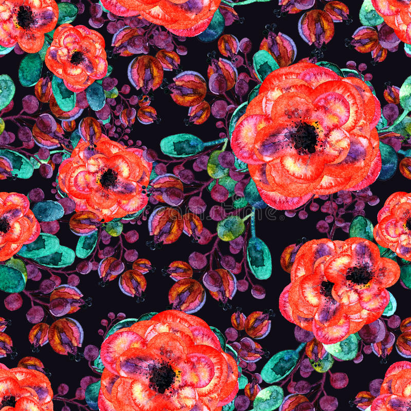 Watercolor seamless pattern with rose and leaf. Red flowers green leaves, On dark blue background. Floral endless royalty free illustration