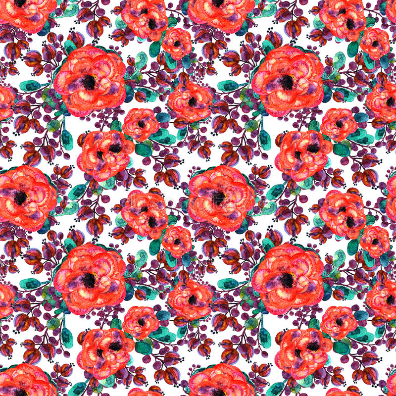 Watercolor seamless pattern with rose and leaf. Red flowers green leaves, On white background. Floral endless artwork royalty free stock image