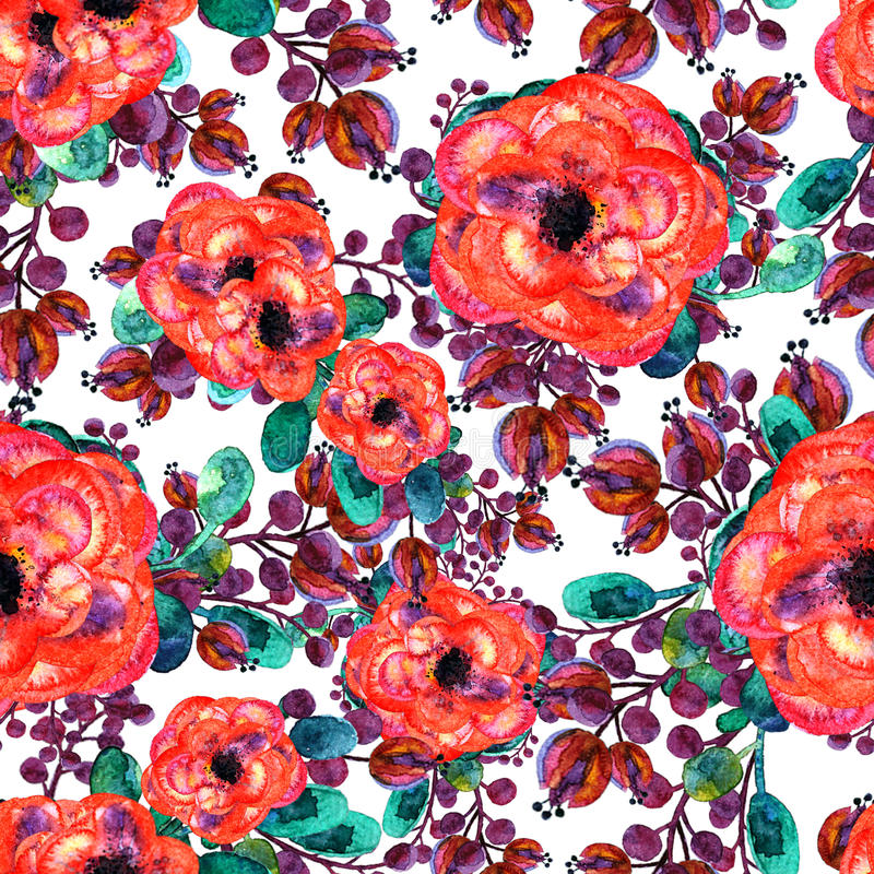Watercolor seamless pattern with rose and leaf. Red flowers green leaves, On white background. Floral endless artwork royalty free illustration