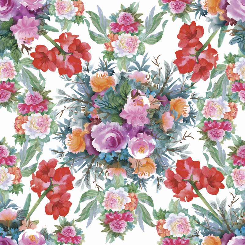 Watercolor seamless pattern with roses. Background for web pages, wedding invitations, save the date cards. vector illustration