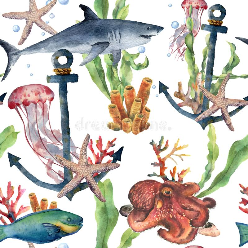 Watercolor seamless pattern with shark, anchor and sea animals. Hand painted plumeria, octopus, jellyfish, parrotfish. Starfish and coral reef. Nautical stock illustration