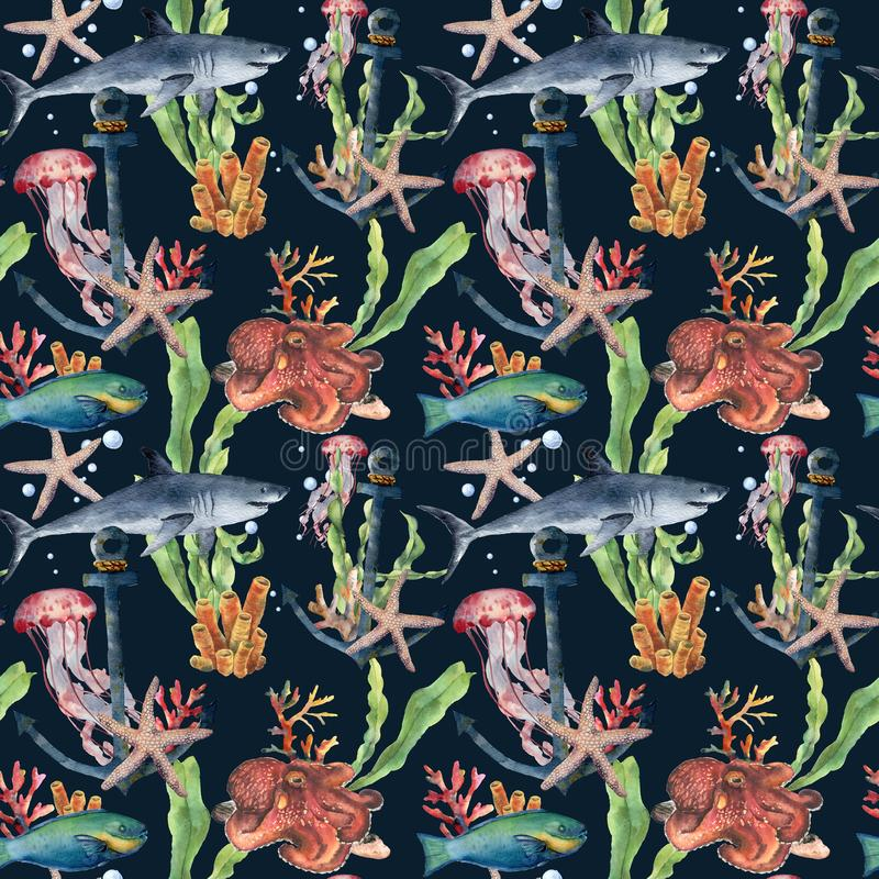 Watercolor seamless pattern with shark and laminaria branch. Hand painted parrotfish, starfish, jellyfish, octopus. Coral reef and air bubbles on blue stock illustration