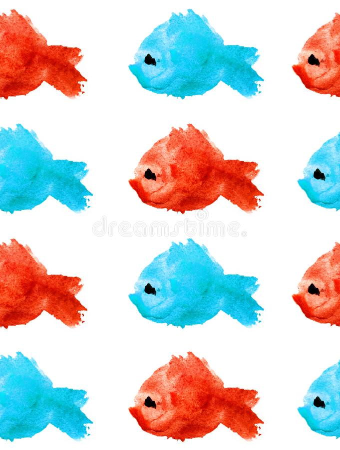 Watercolor seamless pattern  silhouettes of blue and red fishes with black eye on white background isolated in the form of a blot royalty free illustration