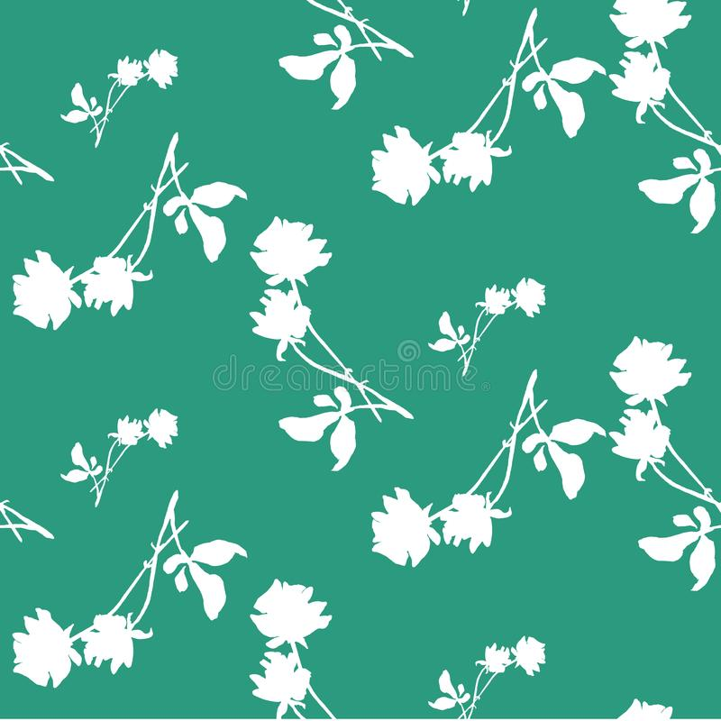 Watercolor Seamless Pattern With Silhouettes Of White Roses