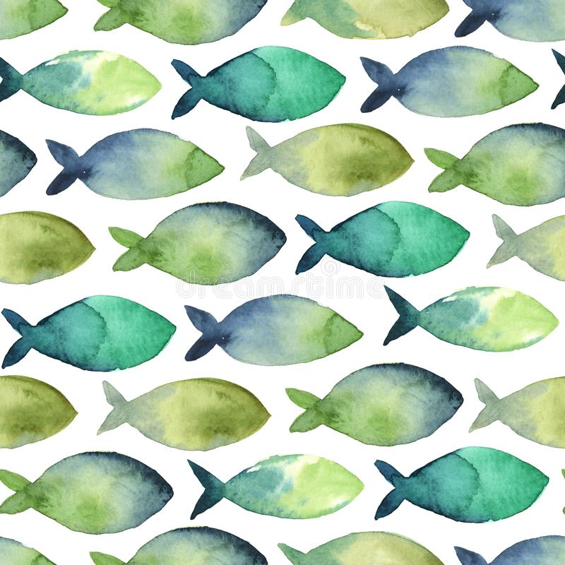 Watercolor seamless pattern of simple silhouette green and blue stock illustration