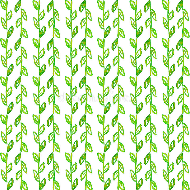 Watercolor seamless pattern. Simple spring hand drawn background. Green leafs and branches. EPS Vector stock illustration