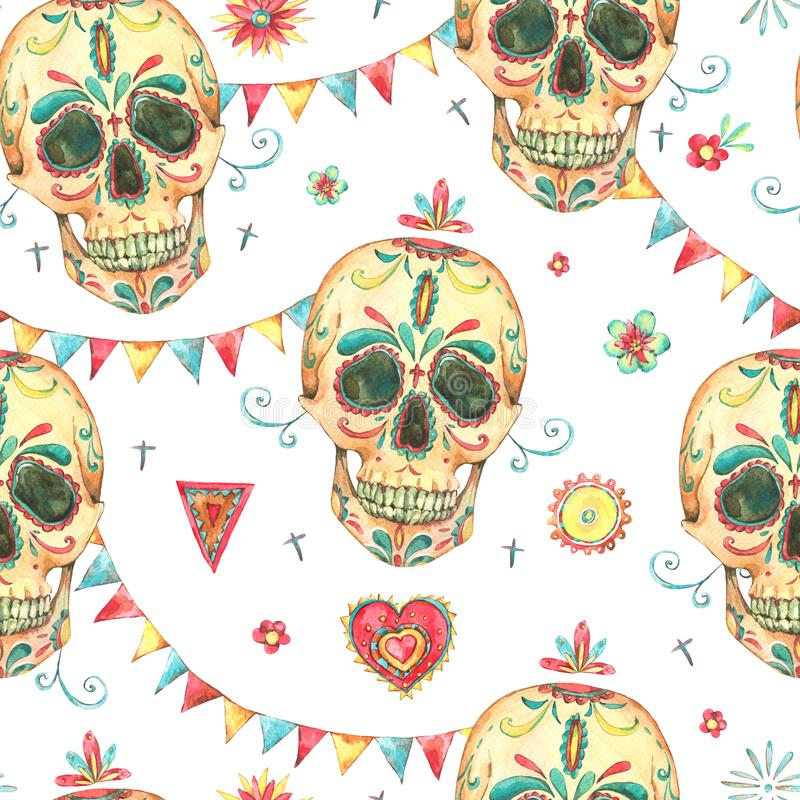 Vintage Watercolor Seamless Pattern With Skull And Sugar Face Garland Colorful Flags Hand Drawn Illustration In Boho Style On White Background