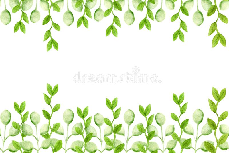 Watercolor seamless pattern with sprigs and leaves. Watercolor drawing for design of fabric, background, wallpaper, covers, cards stock illustration