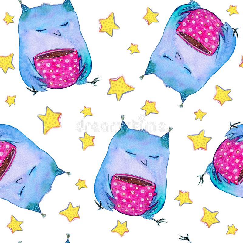 Watercolor seamless pattern with stars and cute blue owl with a pink cup sits and dreams on the white background. For use on card, cotton, fabric, banner royalty free illustration