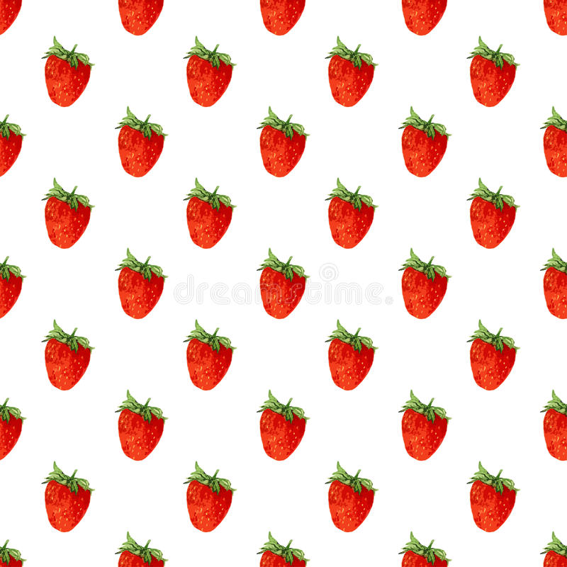 Watercolor seamless pattern with strawberries . Vector background. Hand drawn texture stock illustration
