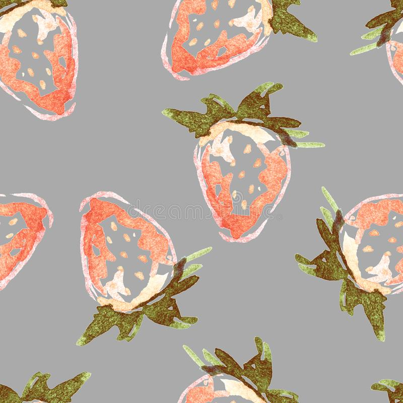 Watercolor strawberry stock photography