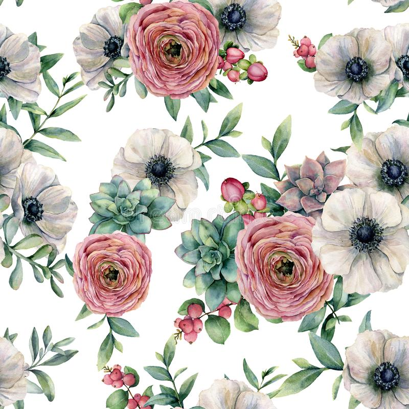 Watercolor seamless pattern with succulent, ranunculus, anemone. Hand painted flowers, eucaliptus leaves and succulent vector illustration