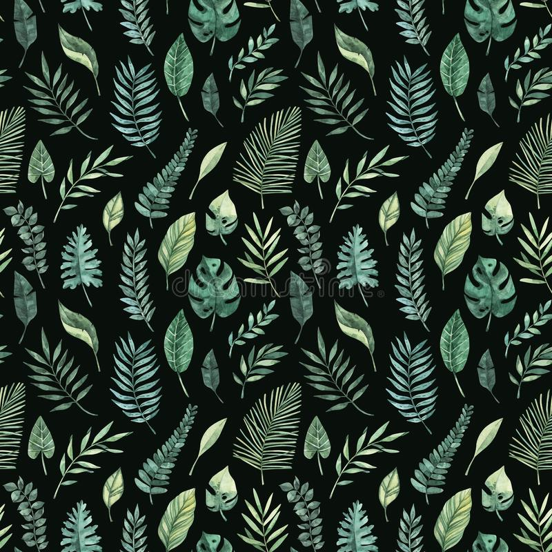 Watercolor seamless pattern. Summer tropical background. Tropical palm leaves monstera, areca, fan, banana. Perfect for vector illustration