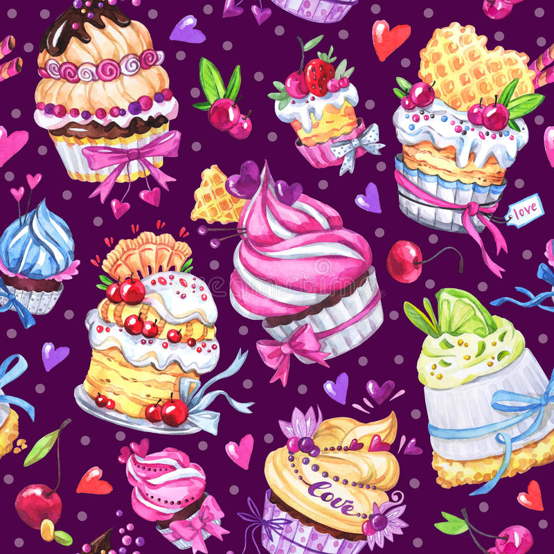 Watercolor seamless pattern with tasty desserts, cakes and berries. Colorful summer background. Original hand drawn royalty free illustration