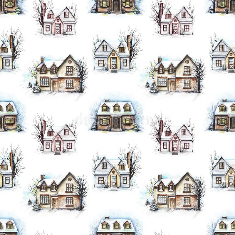 Watercolor seamless pattern with three winter houses royalty free illustration