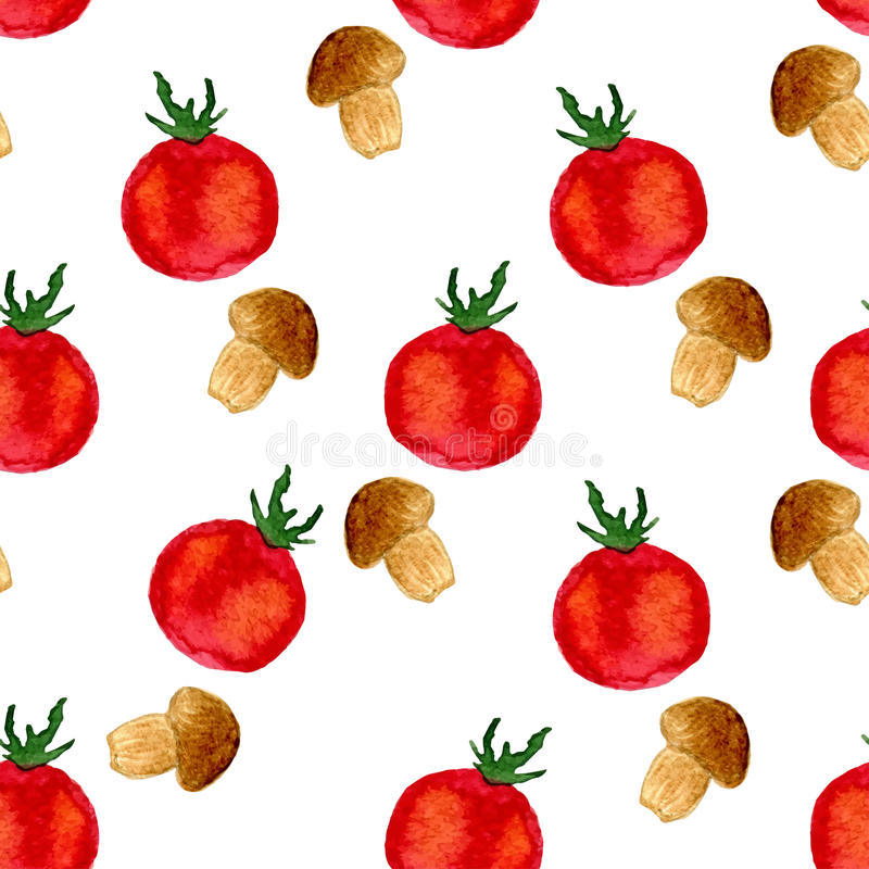 Watercolor seamless pattern with tomato and mushrooms. Vector Illustration stock illustration