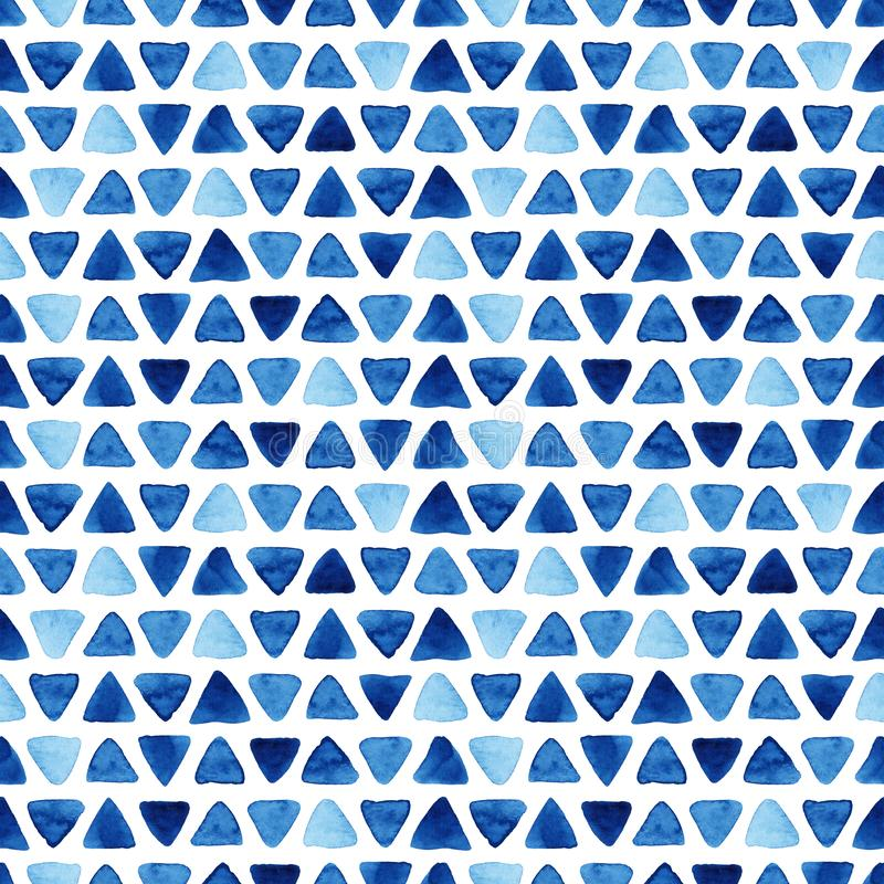 Watercolor seamless pattern with triangles. Watercolor seamless pattern with blue triangles. Abstract modern background, illustration. Template for textile royalty free illustration