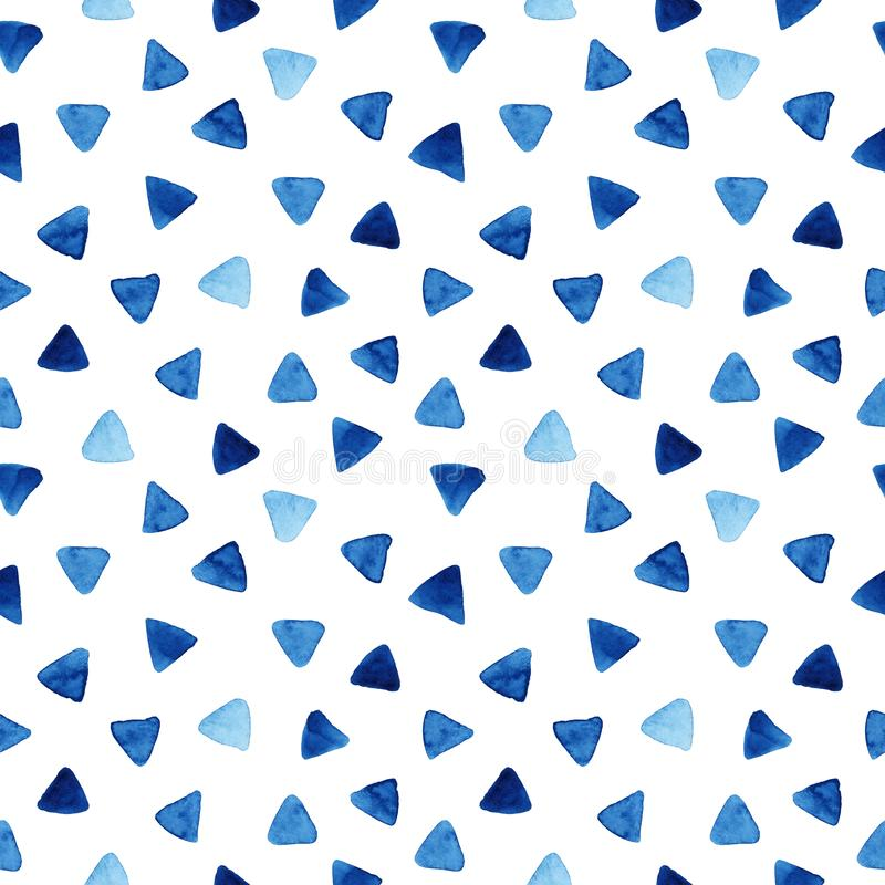 Watercolor seamless pattern with triangles stock illustration