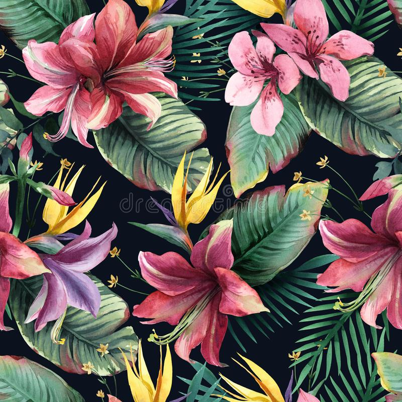Watercolor seamless pattern of tropical flowers and leaves on dark background vector illustration