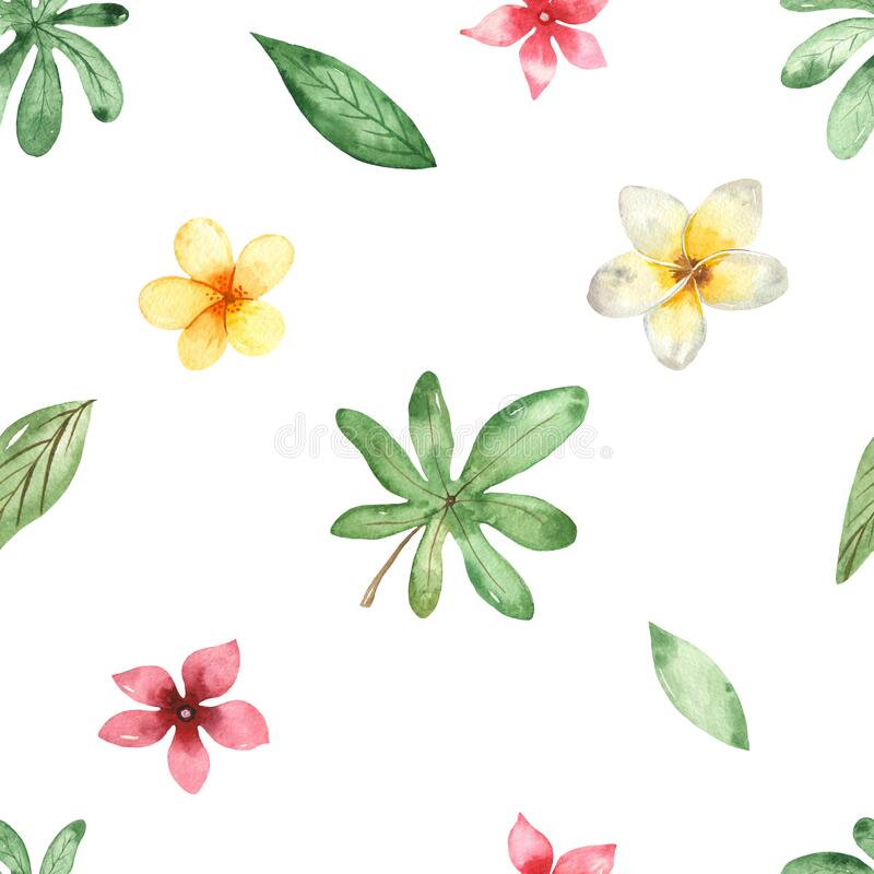 Watercolor seamless pattern with tropical flowers and leaves on a white background. Tropical flowers and leaves on a white background. Watercolor seamless stock illustration