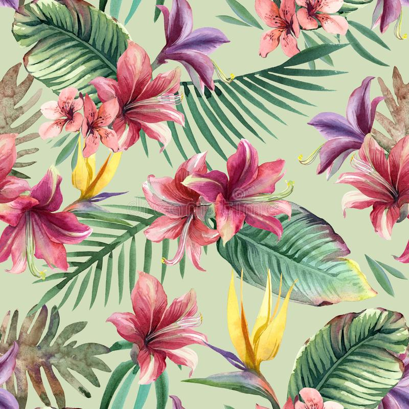 Watercolor seamless pattern of tropical flowers, palm and leaves. On light background stock illustration