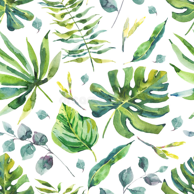 Watercolor Seamless Pattern with Tropical Leaves vector illustration