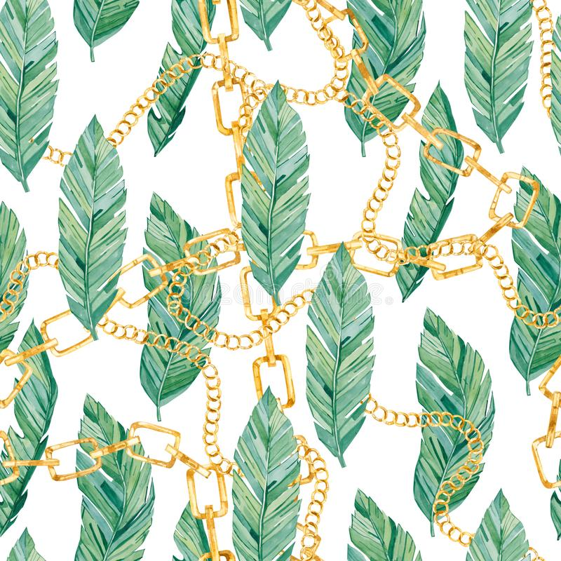 Watercolor seamless pattern tropical leaves and golden chain. Summer glamour print  for the textile fabric. And wallpapers stock illustration