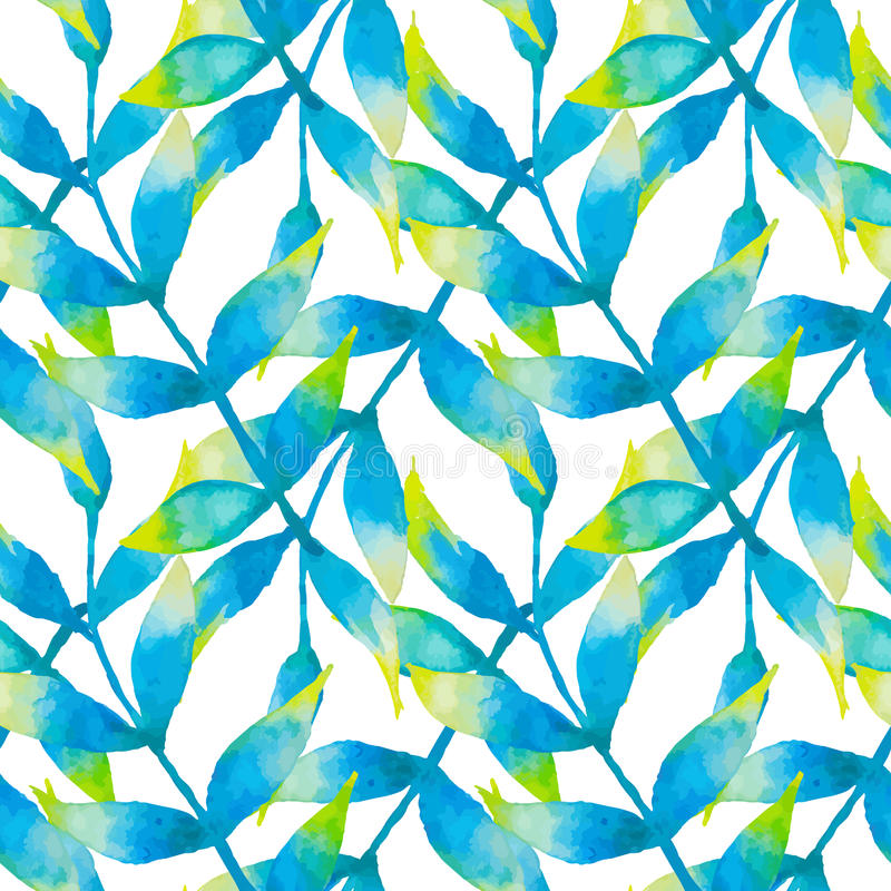 Watercolor seamless pattern with tropical leaves stock illustration