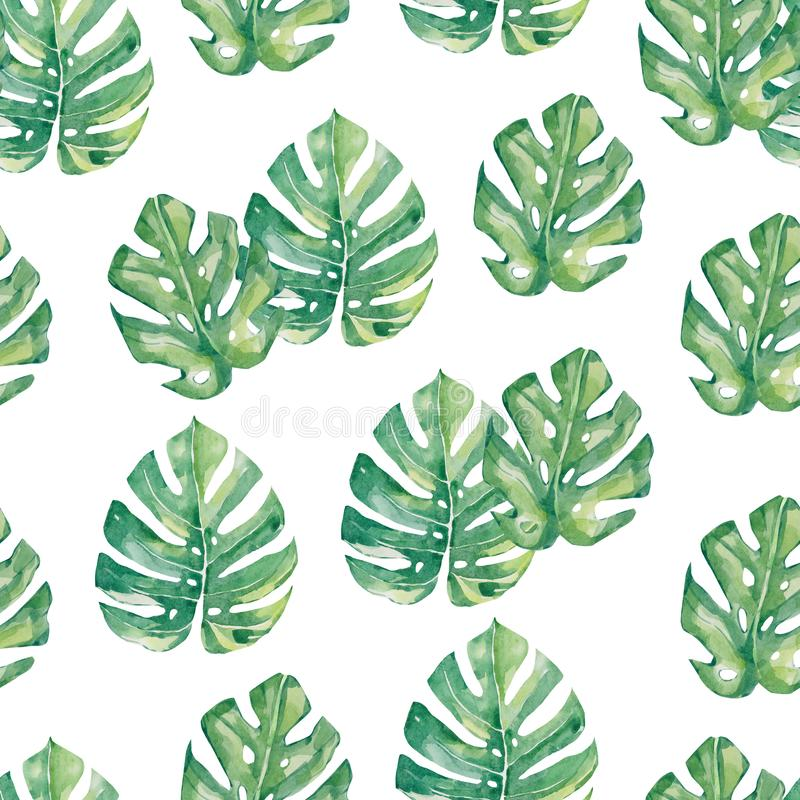 Watercolor seamless pattern tropical leaves - Monstera, summer print. For the textile fabric and wallpapers stock illustration