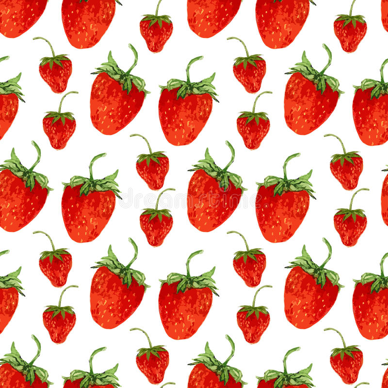 Watercolor seamless pattern with vector red strawberries on the white background. Hand drawn illustration for eco product design, vector illustration