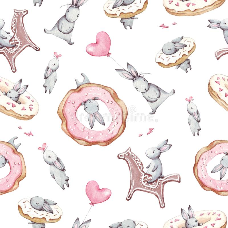 Watercolor seamless pattern. Wallpaper with party air balloons, donuts, cupcakes and fantasy bunneis cartoon animals on white back stock illustration