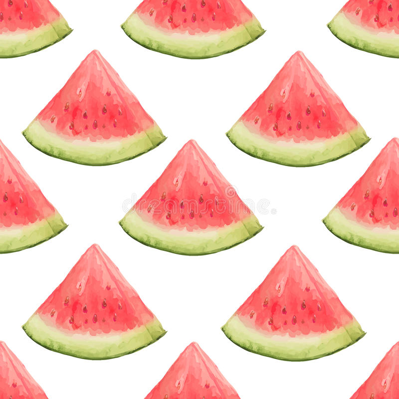 Watercolor seamless pattern of watermelon slices. stock illustration