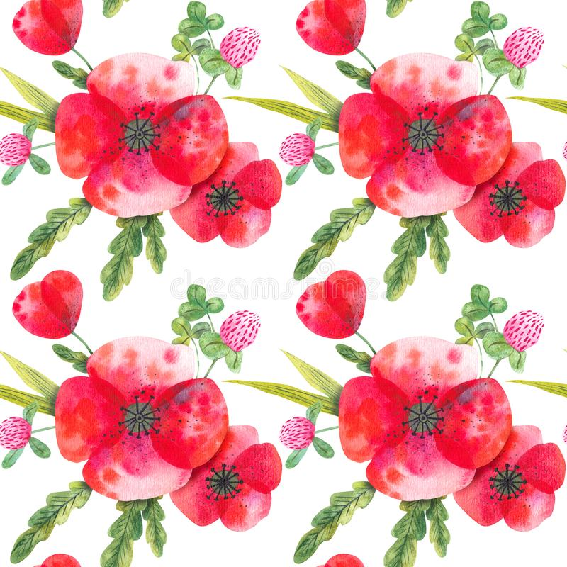 Watercolor seamless pattern with wild poppies and clover royalty free illustration