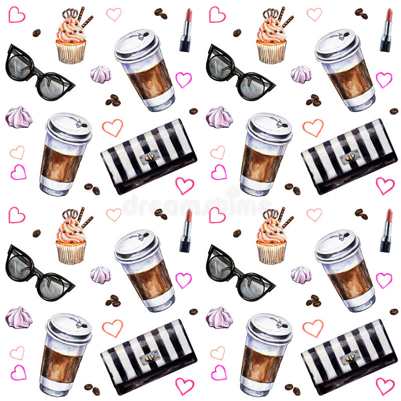 Free Watercolor Seamless Pattern With Disposables Cups Of Coffee, Cup Stock Photos - 92747803