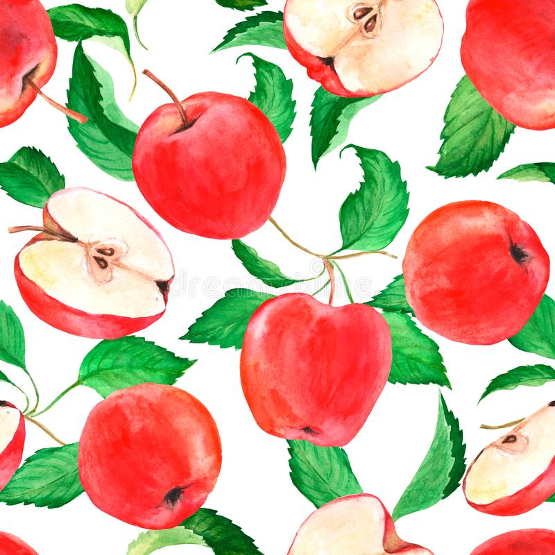 Free Watercolor Seamless Pattern With Red Apples. Fruit Background. Suitable For Fabric, Packaging. Stock Photography - 153615832