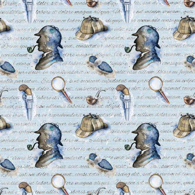 Free Watercolor Seamless Pattern With Sherlock Holmes Objects Stock Image - 114706281