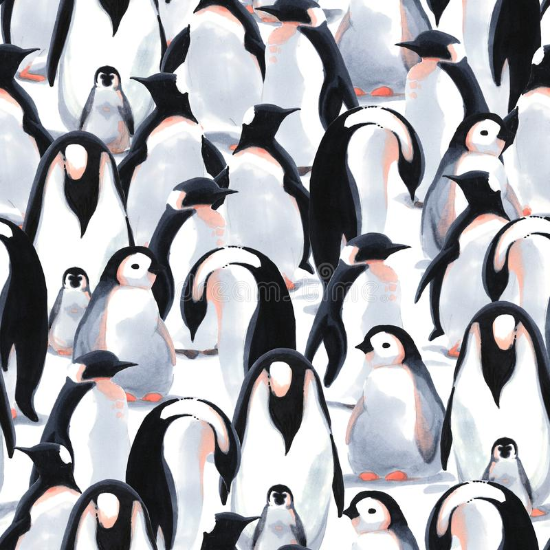 Watercolor seamless pattern witn penguin`s flock on the snow royalty free illustration