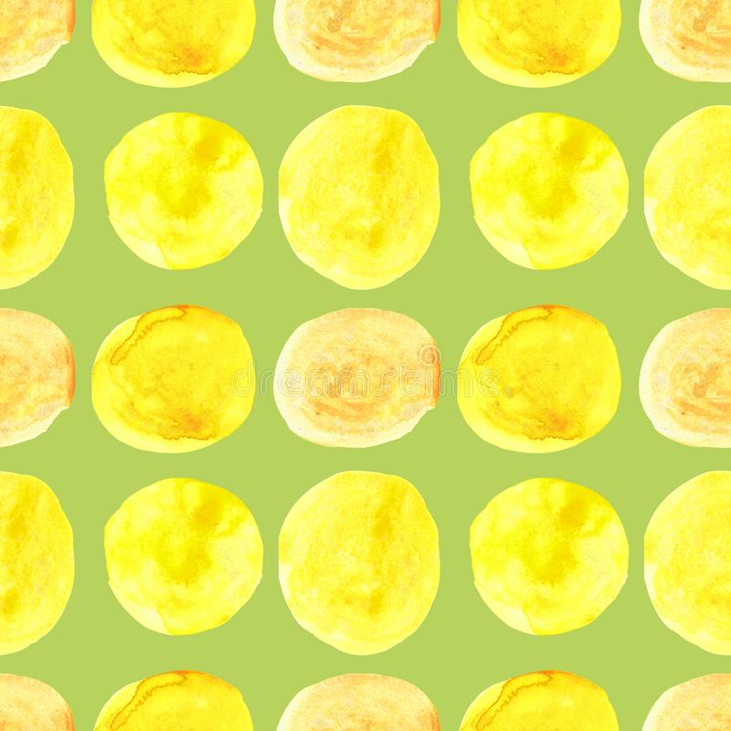 Watercolor seamless pattern of yellow circles with splashes of golden paint vector illustration