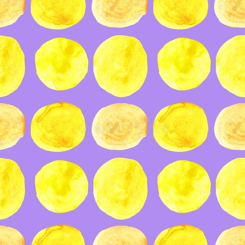 Watercolor seamless pattern of yellow circles with splashes of golden paint. Isolated on purple background, abstract, texture, set, design, paper, palette, art stock photography