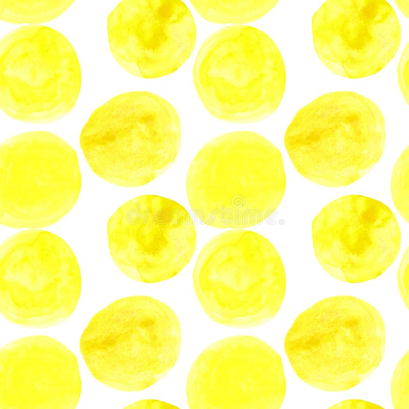 watercolor seamless pattern of yellow circles with splashes of golden paint stock illustration