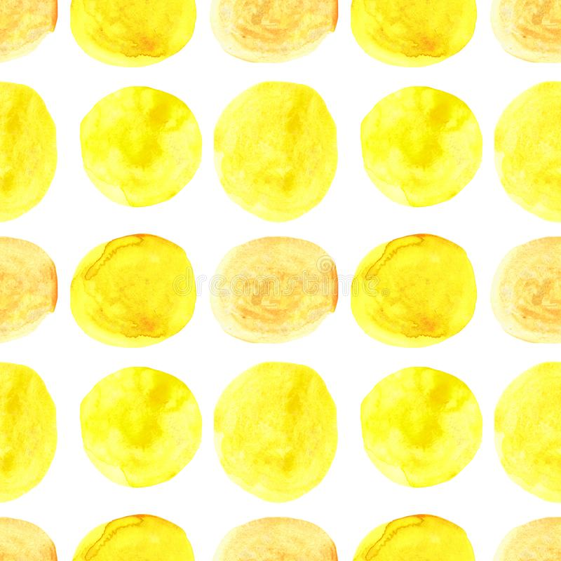 Watercolor seamless pattern of yellow circles with splashes of golden paint. Isolated on white background, abstract, texture, set, design, paper, palette, art vector illustration