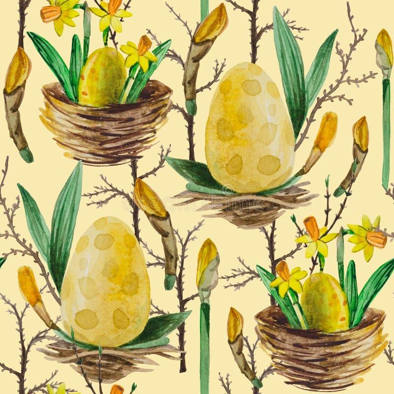 Watercolor seamless pattern Yellow daffodils. stock illustration