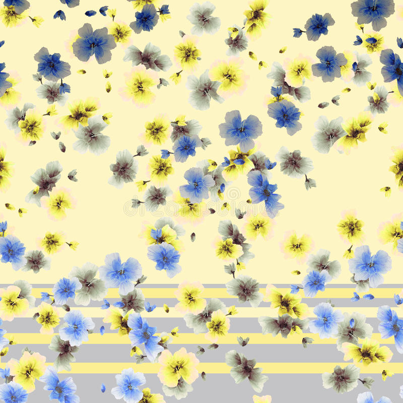 Watercolor seamless pattern yellow gray blue flowers on a yellow and gray stripes background royalty free stock images