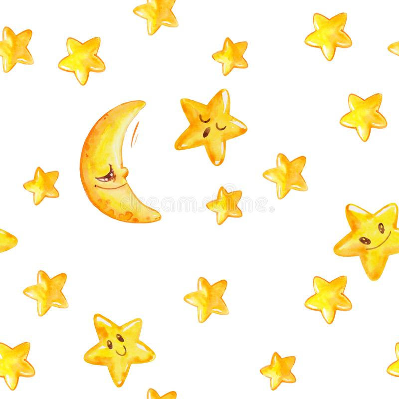 Watercolor seamless pattern with yellow moon and stars isolated on white. Hand painted texture with cartoon characters. Good night. Watercolor seamless pattern royalty free illustration