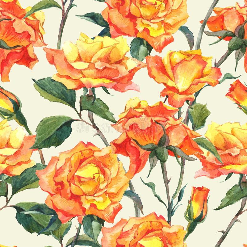 Watercolor Seamless Pattern with Yellow Roses stock illustration